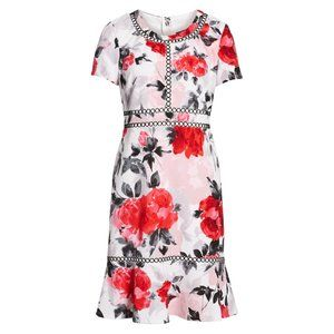 Karl Lagerfeld Embroidery Floral Fit & Flare Dress